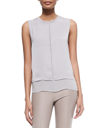 Layered Sleeveless Silk Blouse, Shadow