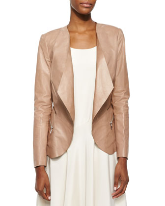 Becca Open Lambskin Leather Jacket, Evalyn Sleeveless Bias Dress & Long ...