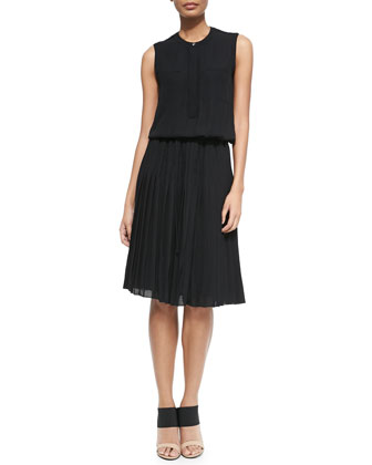 Oversize Knit Tie-Waist Cardigan & Pleated Chiffon A-Line Dress