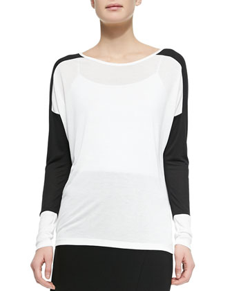 Long-Sleeve Colorblock Slub Tee