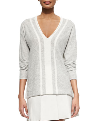 Cashmere Two-Tone V-Neck Sweater