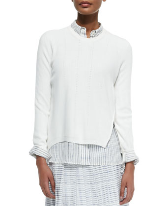 Zip-Hem Knit Sweater, Off White