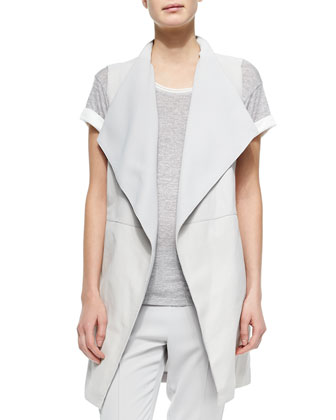 Leather/Ponte Draped Long Vest, Contrast-Trim Slub Tee & Pintucked Slim ...
