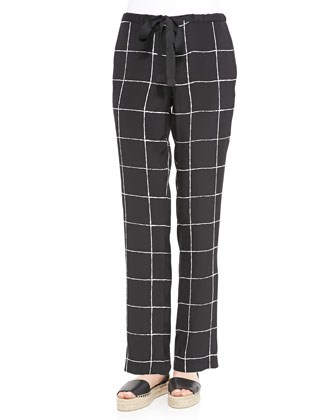 Zip-Hem Knit Sweater & Windowpane-Print Relaxed Drawstring Pants
