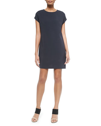 Jewel-Neck Cap-Sleeve Dress