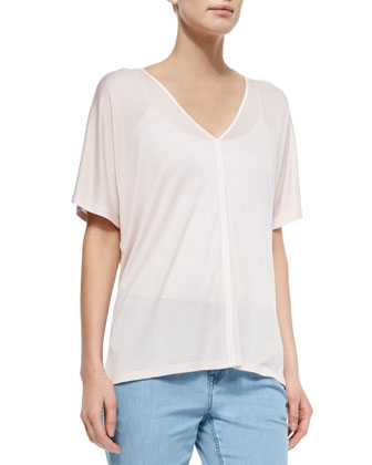 Ribbon-Trim Sheer Slub Tee