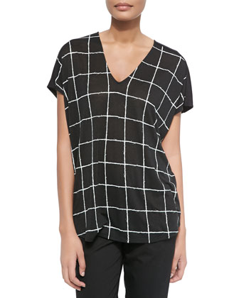 Windowpane-Print V-Neck Top