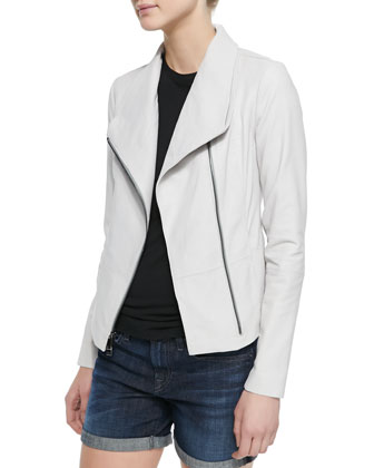 Moto-Style Leather/Knit Jacket