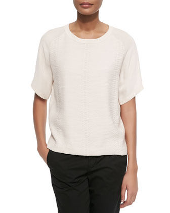 Smooth-Sleeve Jacquard Top