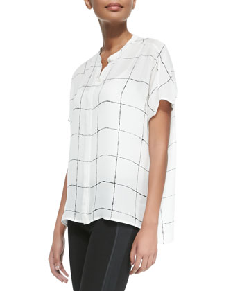 Windowpane-Print Loose Silk Blouse