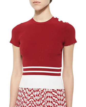 Short-Sleeve Ribbed Knit Striped Top & Slipper-Print Silk Pleated Skirt