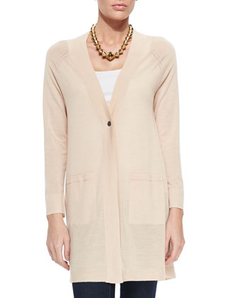 Long One-Button Merino Cardigan, Women's