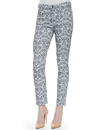 Cropped Damask Skinny Jeans