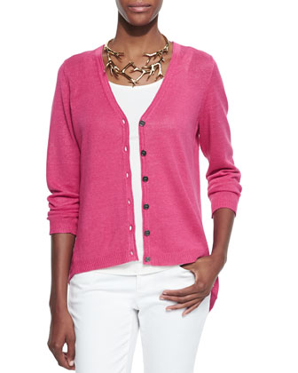 Organic Linen High-Low Cardigan, Petite