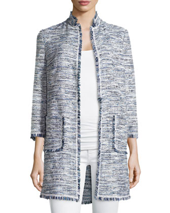 Fringe-Trim Long Boucle Jacket