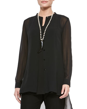 Silk Long High-Low Shirt, Black, Women's