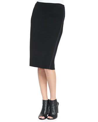 Silk-Cotton Straight Skirt, Women's