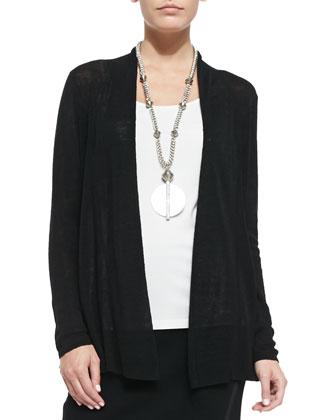 Long Polished Linen-Blend Rib Cardigan, Women's