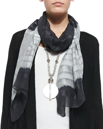 Shadow Striped Silk Scarf, Moon/Ash