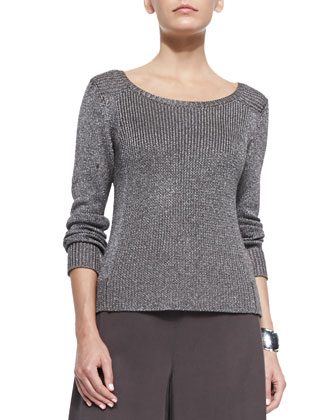 Metallic Sheen Sweater Top, Petite
