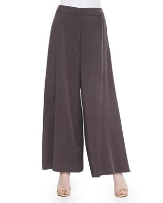 Metallic Sheen Sweater Top & Twill Wide-Leg Pants, Women's