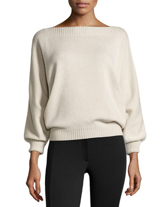 Long-Sleeve Sweater with Boat Neckline