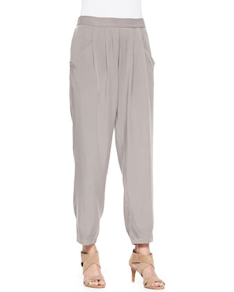 Long Linen/Cotton Grain Cardigan & Slouchy Twill Ankle Pants, Petite
