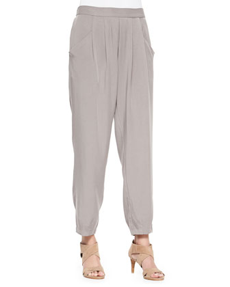Long Linen/Cotton Grain Cardigan & Slouchy Twill Ankle Pants, Women's
