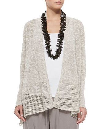 Long Linen/Cotton Grain Cardigan, Women's
