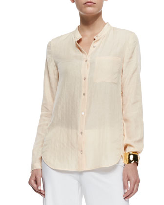 Mandarin-Collar Silk-Blend Shirt, Petite