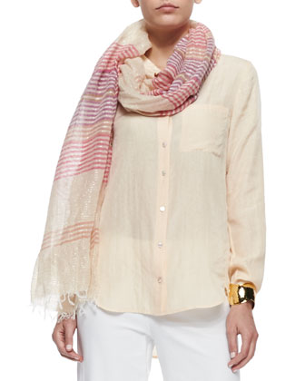 Mandarin-Collar Silk-Blend Shirt, Striped Linen Shine Scarf & Wide-Leg ...