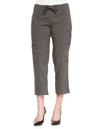 Drawstring Cropped Cargo Pants, Petite