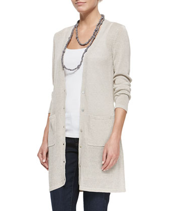Long Linen-Blend Cardigan, Tank & Slim Stretch Ankle Jeans, Petite