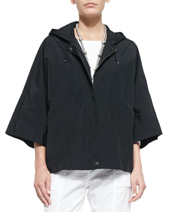 Weather-Resistant Hooded Boxy Zip Jacket