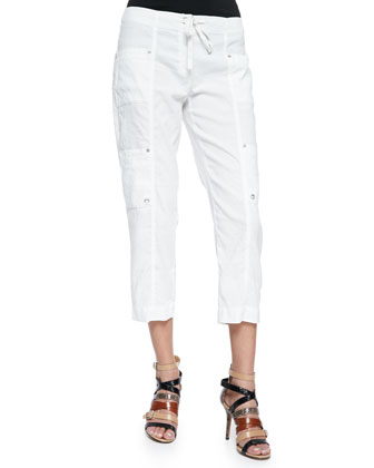 Drawstring Cropped Cargo Pants, Women's