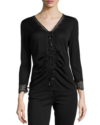 Beaded V-Neck Sweater W/ Lace-Trim