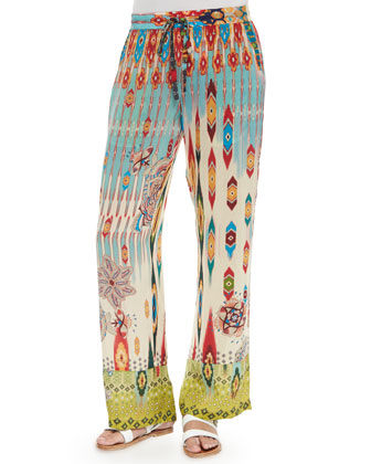 Tribal-Print Drawstring Pants