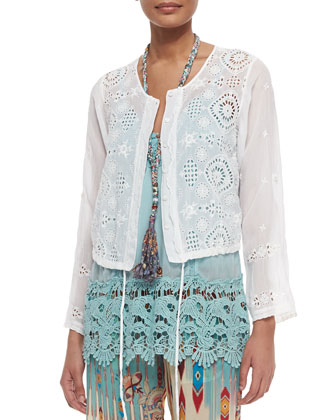 Cropped Eyelet Drawstring Jacket & Sleeveless Garden-Print Maxi Dress