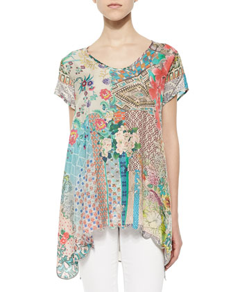 Azzy Printed Trapeze Top, Women's