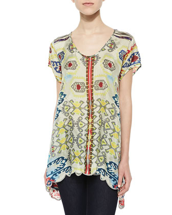 Short-Sleeve Tribal-Print Trapeze Top, Women's