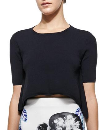 Delta Handkerchief-Hem Top & Pelagic Leaf-Print Pencil Skirt