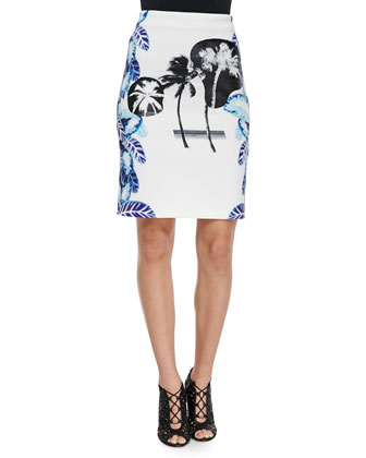Delta Handkerchief-Hem Top & Pelagic Leaf-Print Pencil Skirt