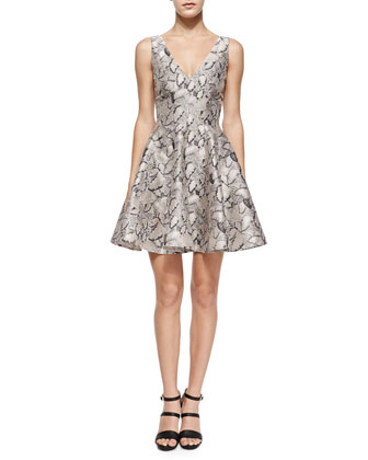 Leaf-Print Flared Jacquard Dress