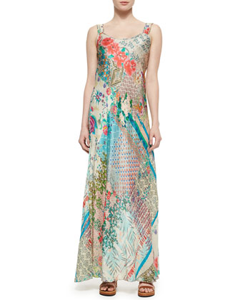 Flutter Ruffle Button-Front Blouse & Patch-Print Silk Maxi Dress