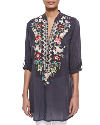 Eyelet Floral Georgette Tunic & Randi Printed Square Scarf