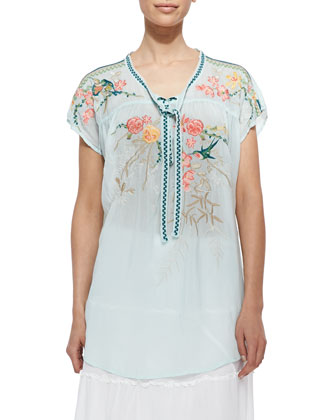 Romeo Short-Sleeve Embroidered Tunic
