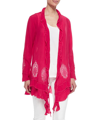 Ruffle Cover Up Cardigan, Women's