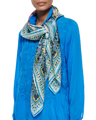 Embroidered Shirred Tunic & Silk Georgette Novel Floral Scarf, Women's