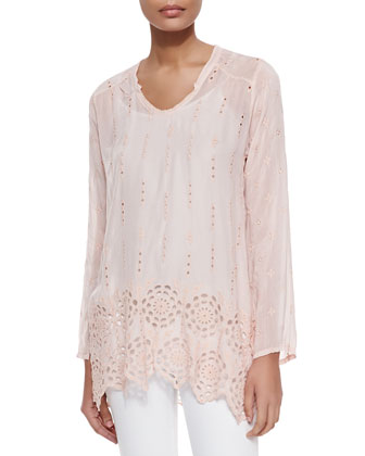 Long Eyelet Shirred Yoke Tunic, Women's
