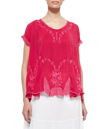Short-Sleeve Vintage Rose Embroidered Top, Women's